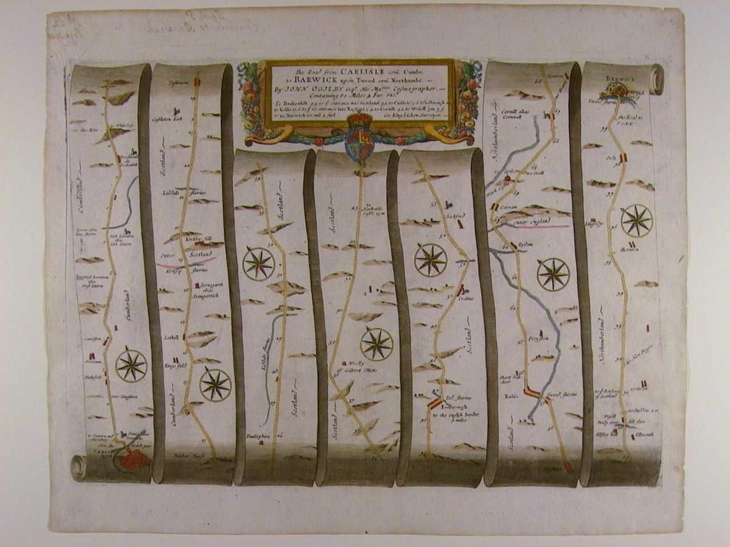 The Road from Carlisle, Cumbr. to Barwick upon Tweed, Northumbr by John Ogilby