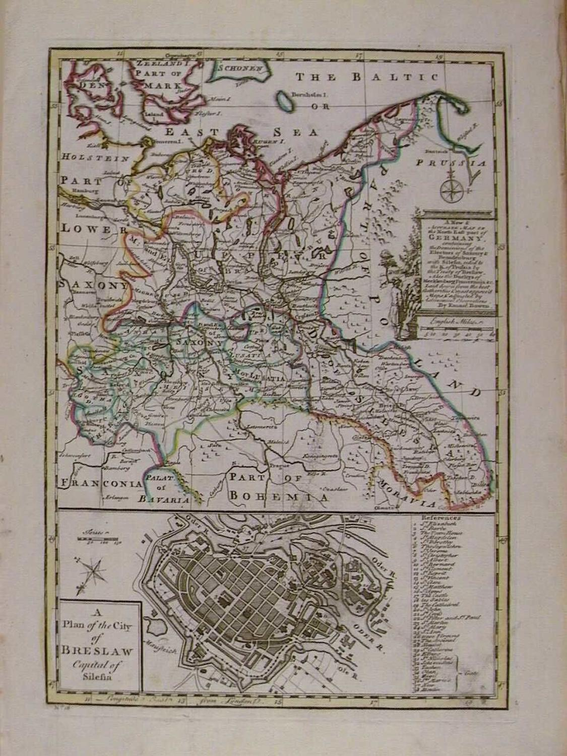A New and Accurate Map of the North East part of Germany by Emanuel Bo