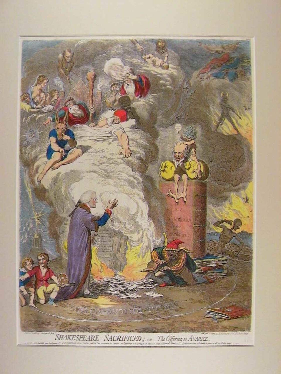 Shakespeare - Sacrificed ;-or-The Offering to Avarice by James Gillray