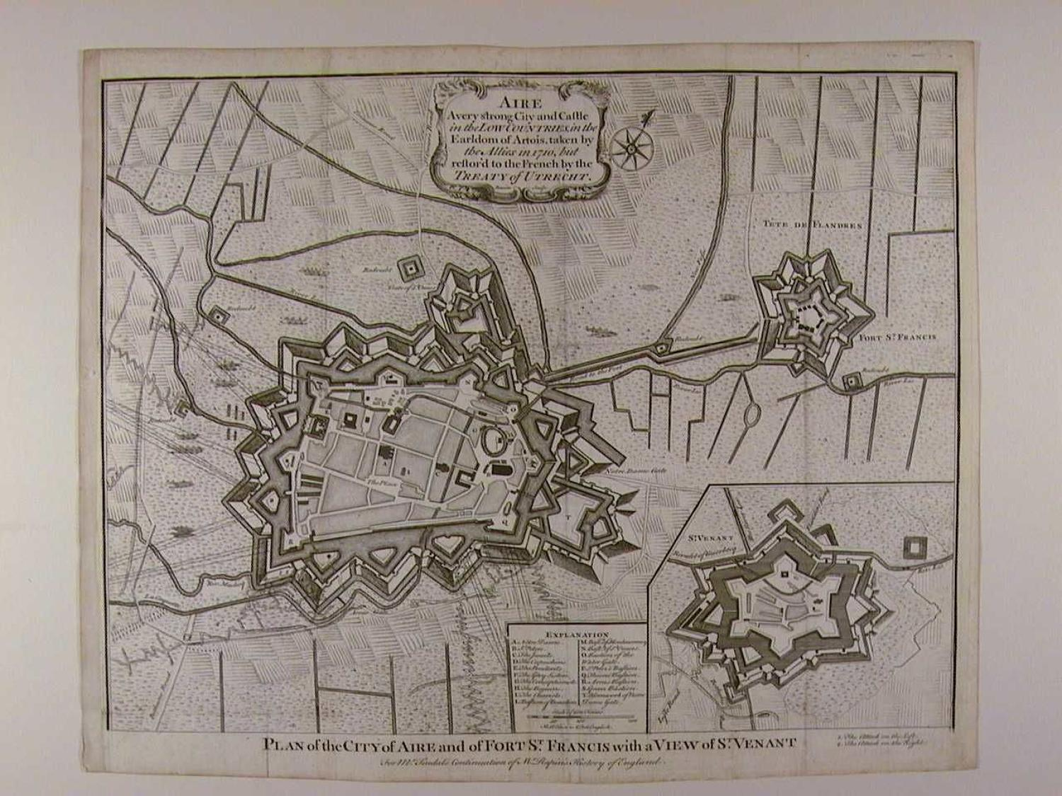 Plan of the City of Aire and of Fort St Francis with a View of St Vena by Isaac Basire