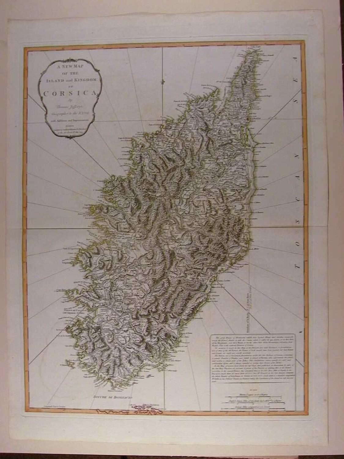 A New Map of the Island and Kingdom of Corsica by Thomas Jefferys