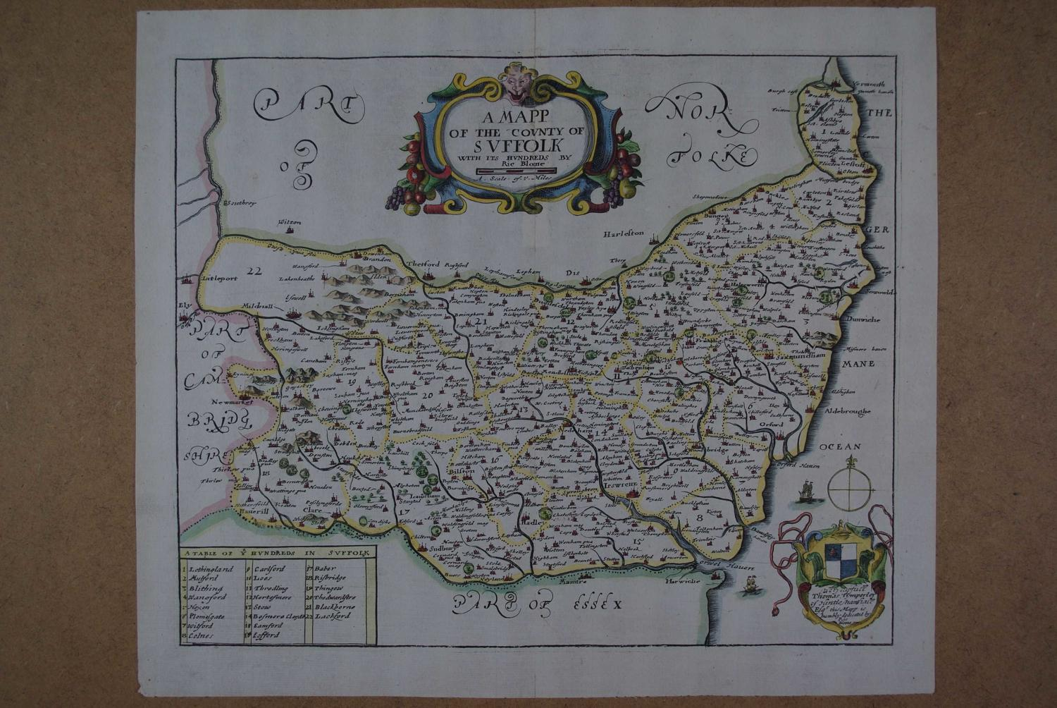 A Mapp of the County of Suffolk by Richard Blome