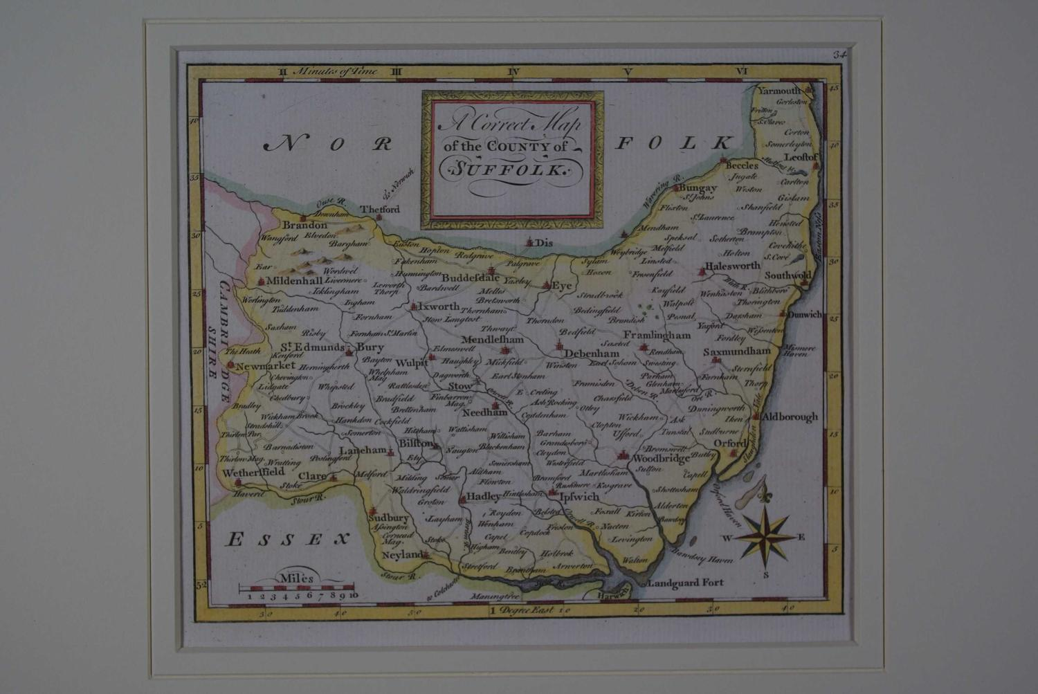 A Correct Map of the County of Suffolk by Thomas Osborne