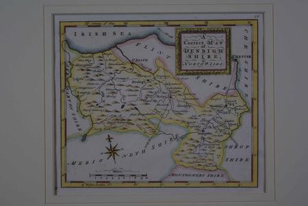 A Correct Map of  Denbighshire in North Wales by Thomas Osborne