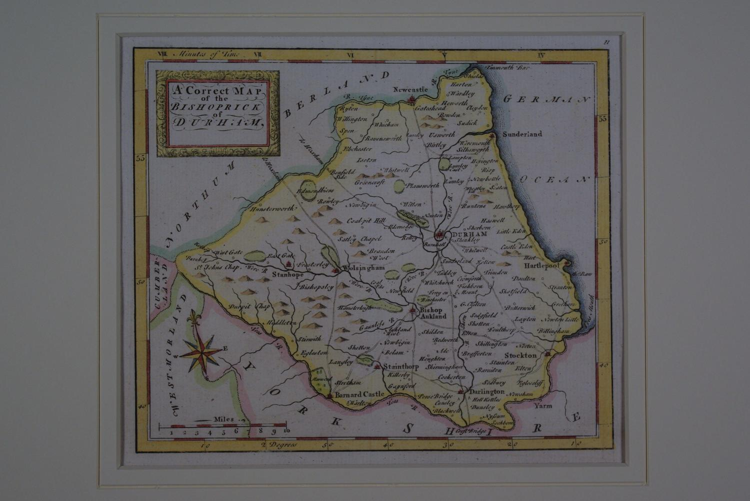 A Correct Map of the Bishoprick of Durham by Thomas Osborne