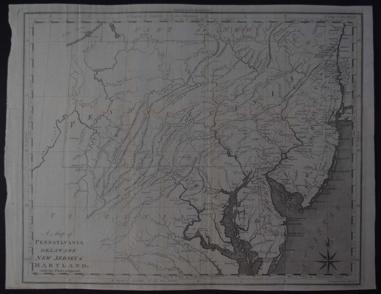 A Map of Pennsylvania Delaware New Jersey & Maryland with the Parts ad