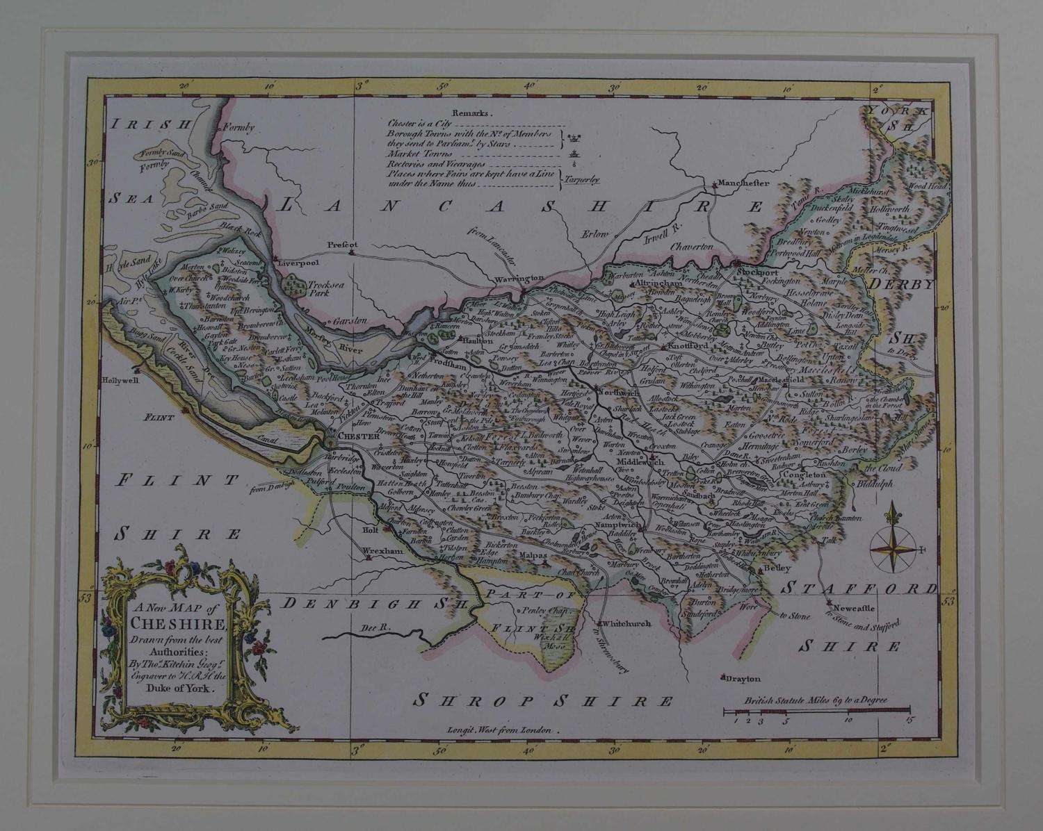 A New Map of  Cheshire by Thomas Kitchin
