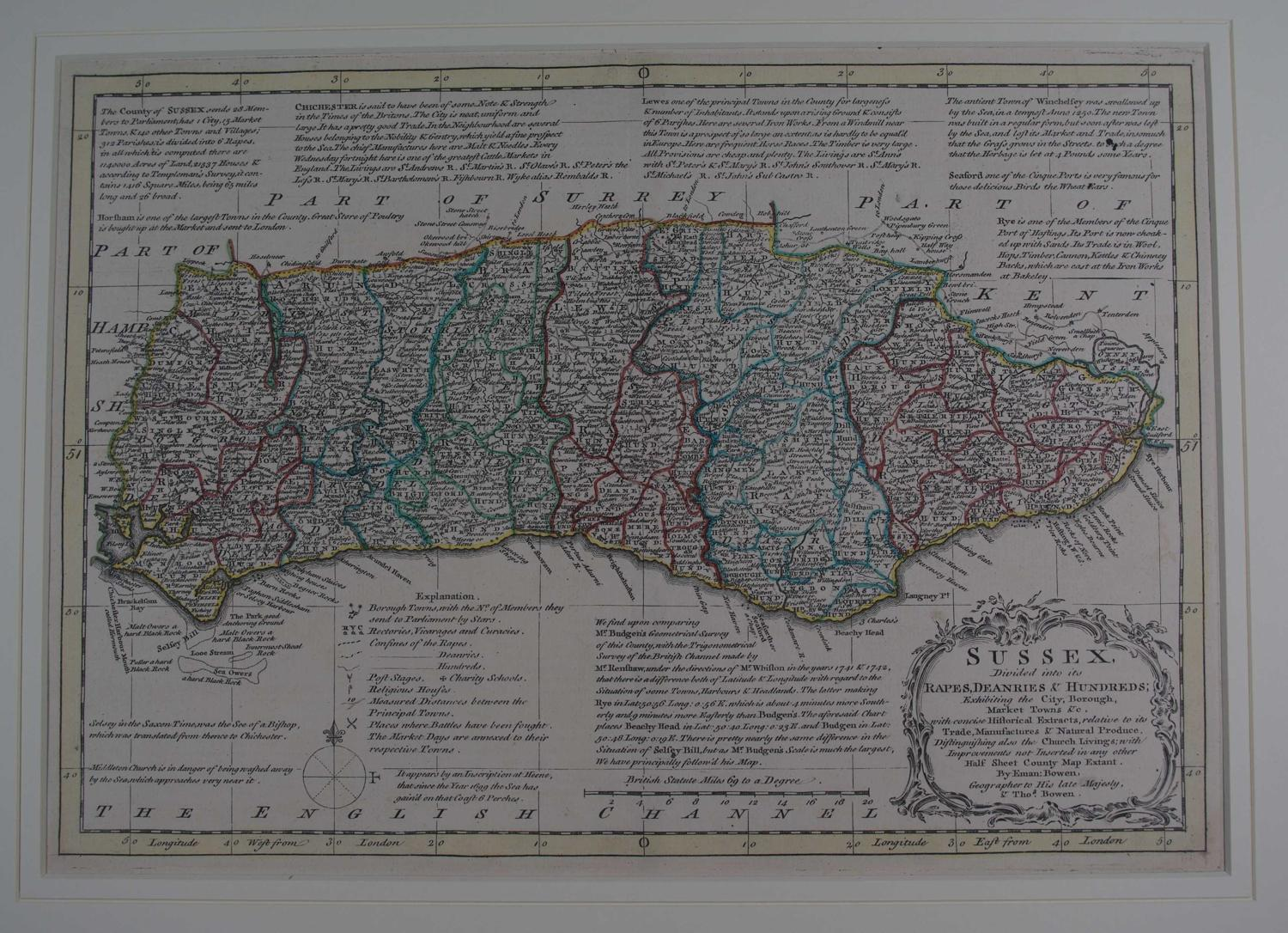 Sussex by Emanuel Bowen / Thomas Kitchin