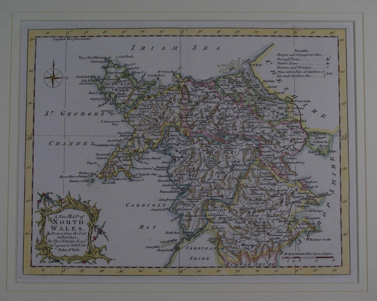 A New Map of North Wales, Drawn from the best Authorities by Thomas Ki