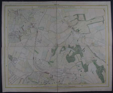 Library Map of London and its Suburbs sheet 24 by Edward Stanford