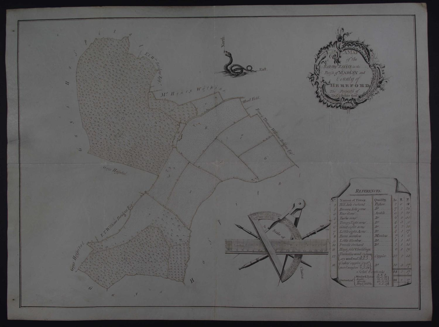 A Map of the Batchy Estate in the Parish of Madley and County of Heref by John Harris