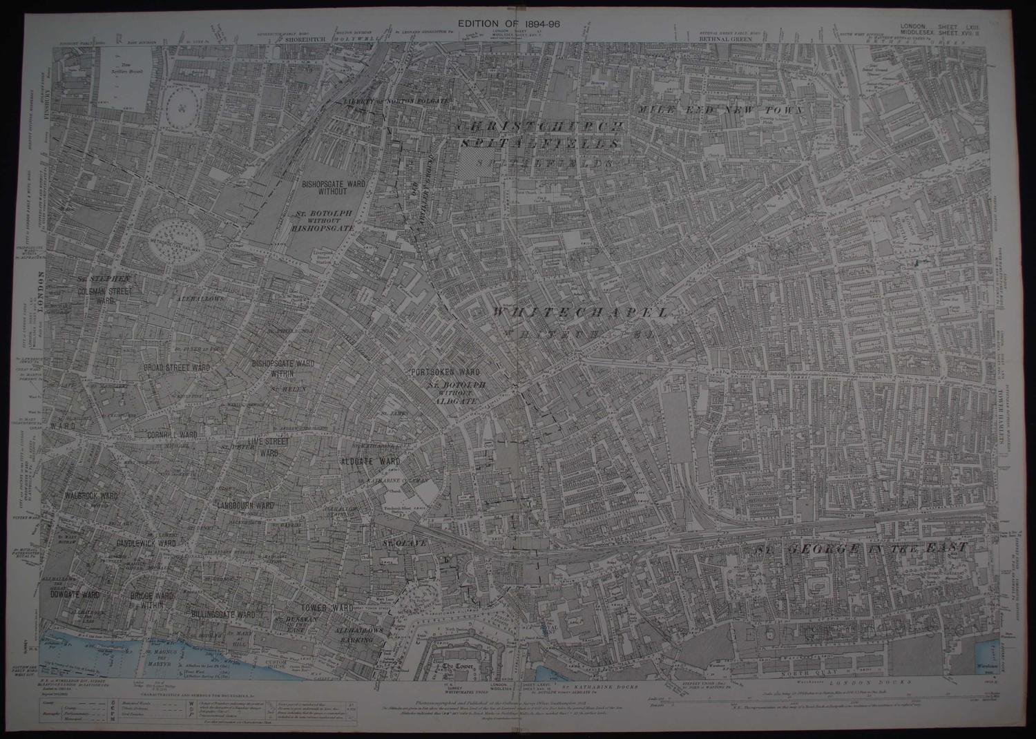London. Sheet  LXIII.  Middlesex.  Sheet XVII.  II by Ordnance Survey Edition of 1894-96