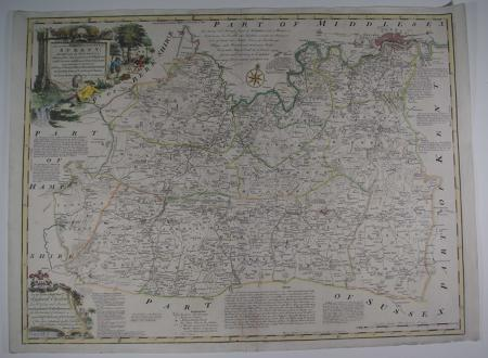 An Accurate Map of the County of Surrey by Emanuel Bowen