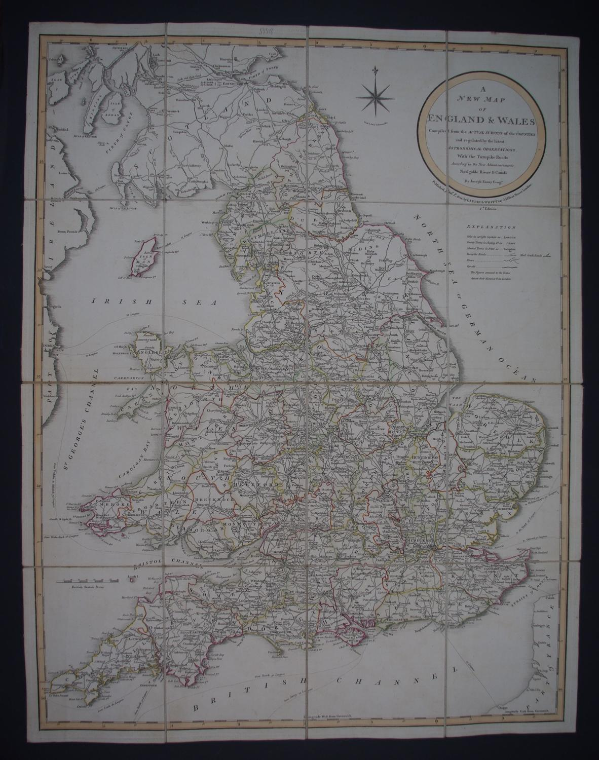 A New Map of England & Wales, Compiled from the Actual Surveys of the by Richard Laurie