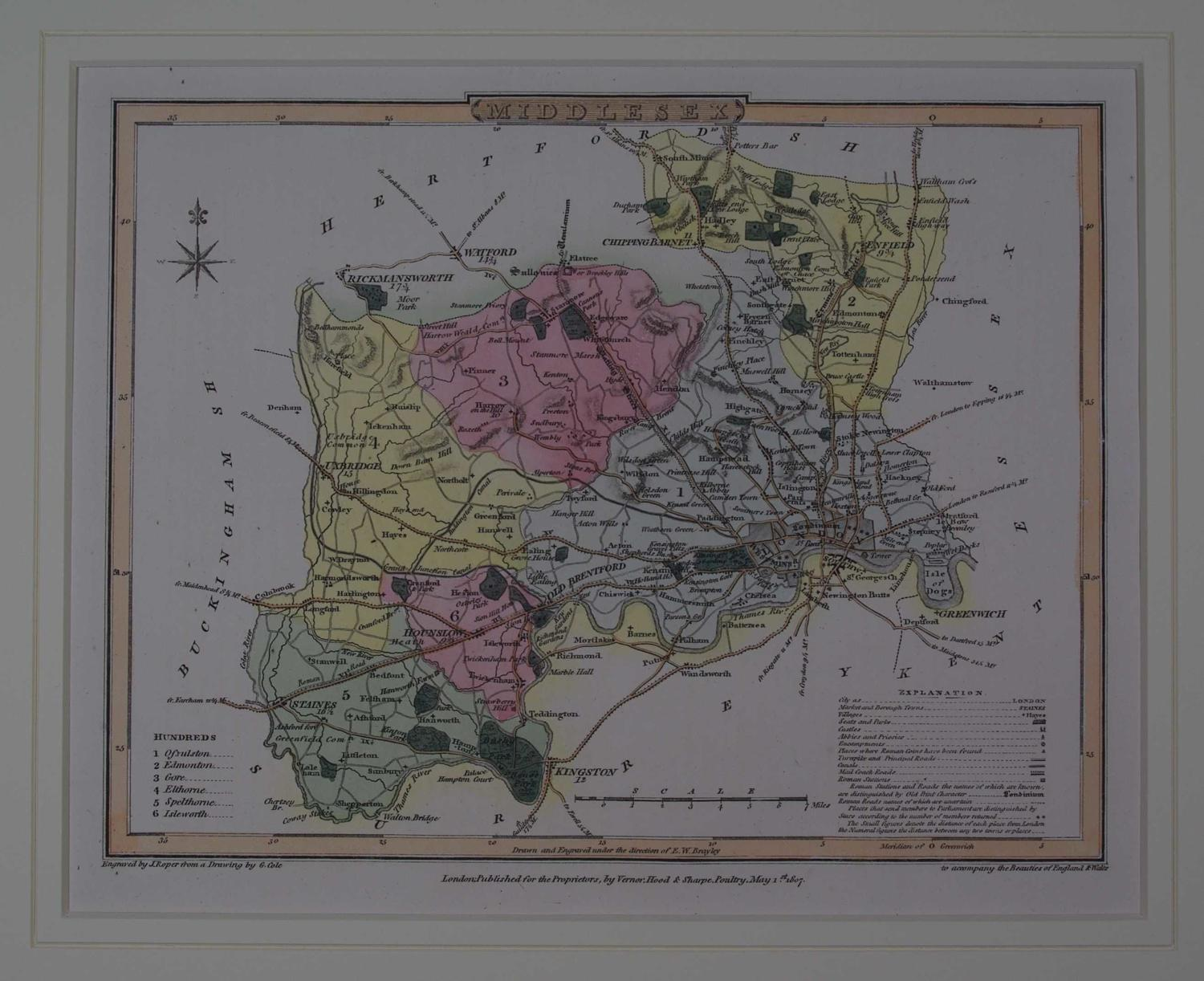 Middlesex by G Cole / J Roper / Joseph Nightingale