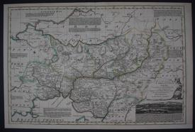 An Accurate Map of Carmarthenshire by Emanuel Bowen / Thomas Kitchin