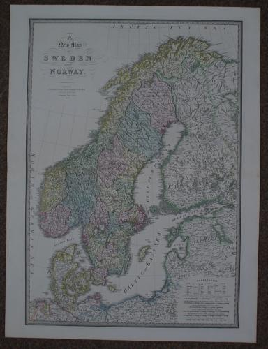 Wyld, James:- A New Map of Sweden and Norway
