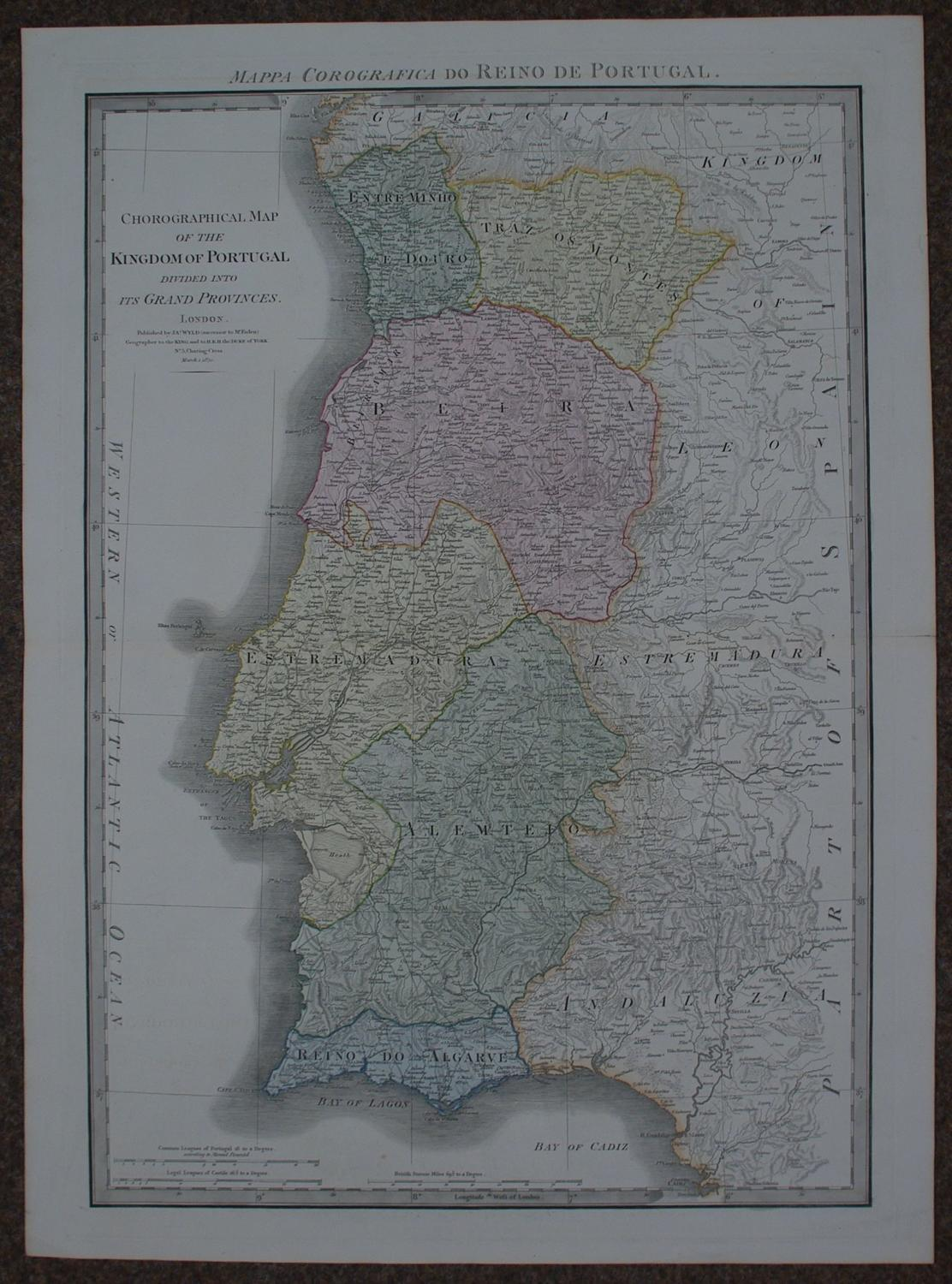 Chorographical Map of the Kingdom of Portugal by James Wyld