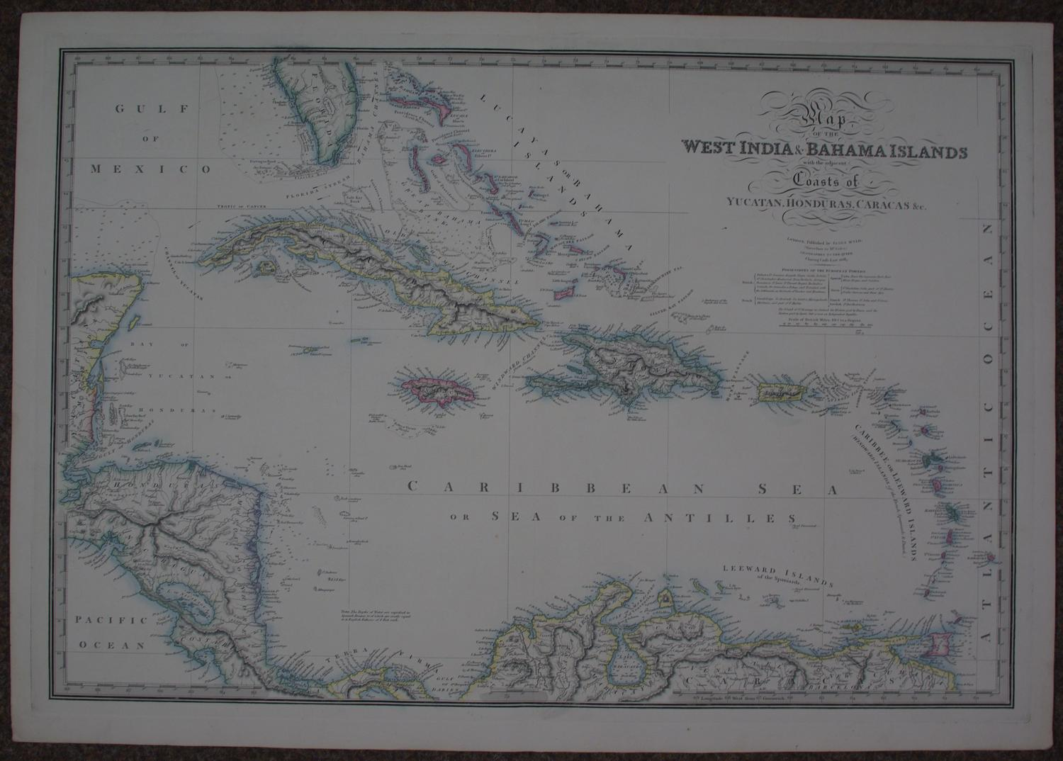 Wyld, James:- Map of the West India and Bahama Islands
