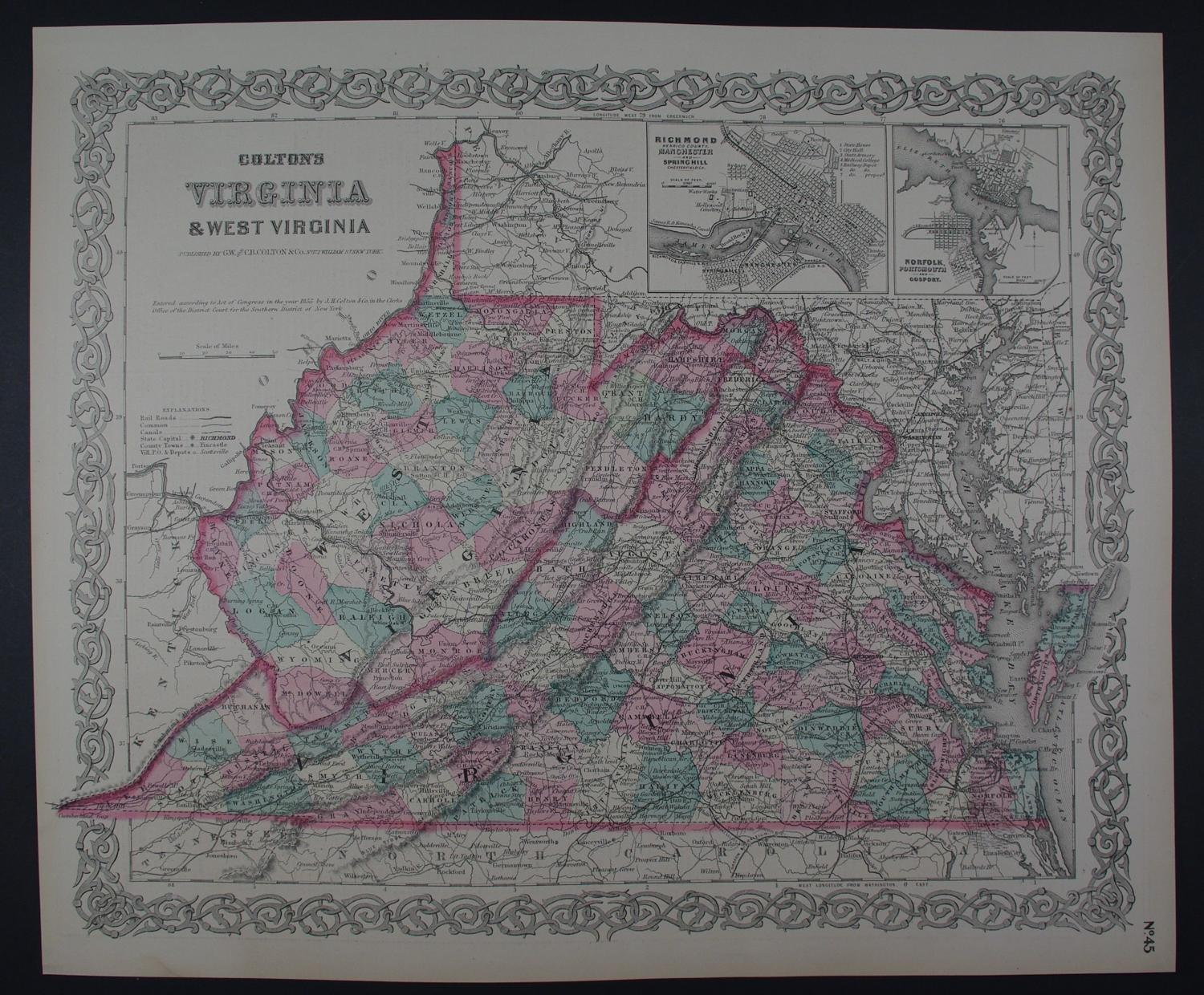 Virginia and West Virginia by G.W. Colton