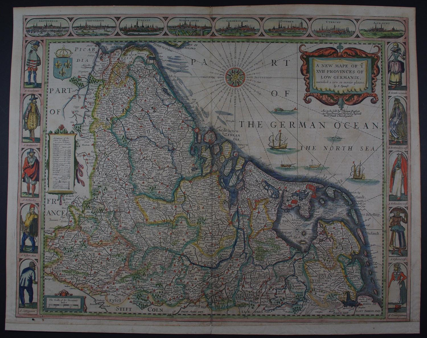 A New Mape of Ye XV11 Provinces of Low Germanie mended a by John Speed