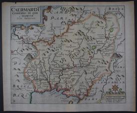 Caermardi (Caermarthen) by Christopher Saxton / William Kip