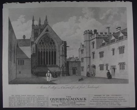 Rooker, E.& M-The Oxford Almanack /Merton College and Chapel from the