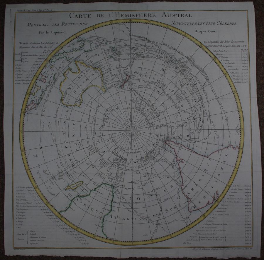 Carte De l'Hemisphere Austral Montrant Les R by Jacques Nicolas Bellin
