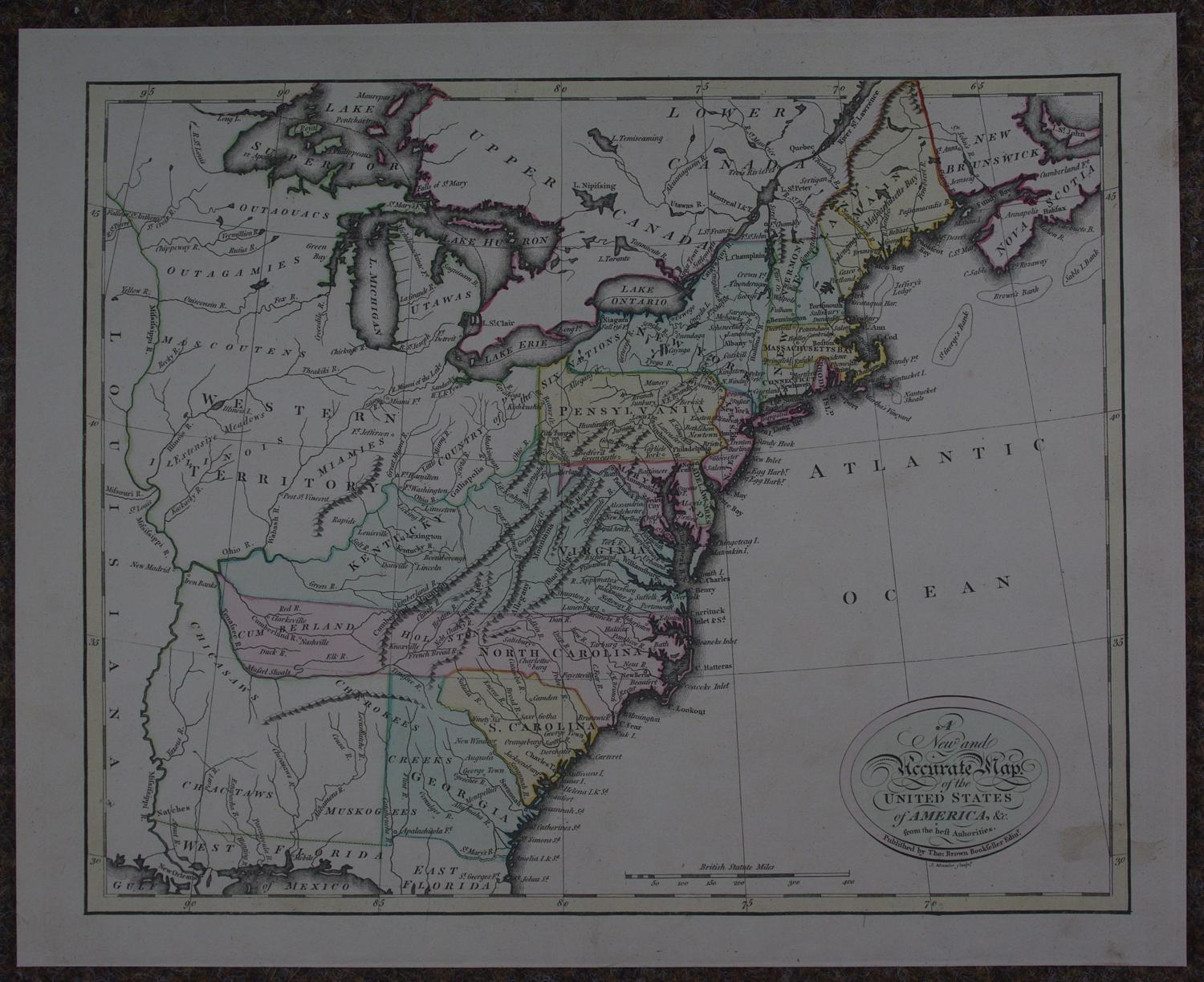 New and  Accurate Map of the United States of America by Thomas Brown