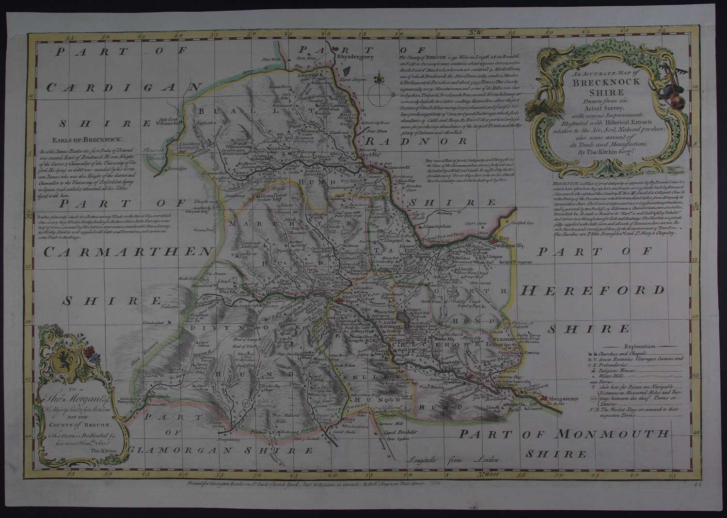 An Accurate Map of Brecknockshire by Thomas Kitchen