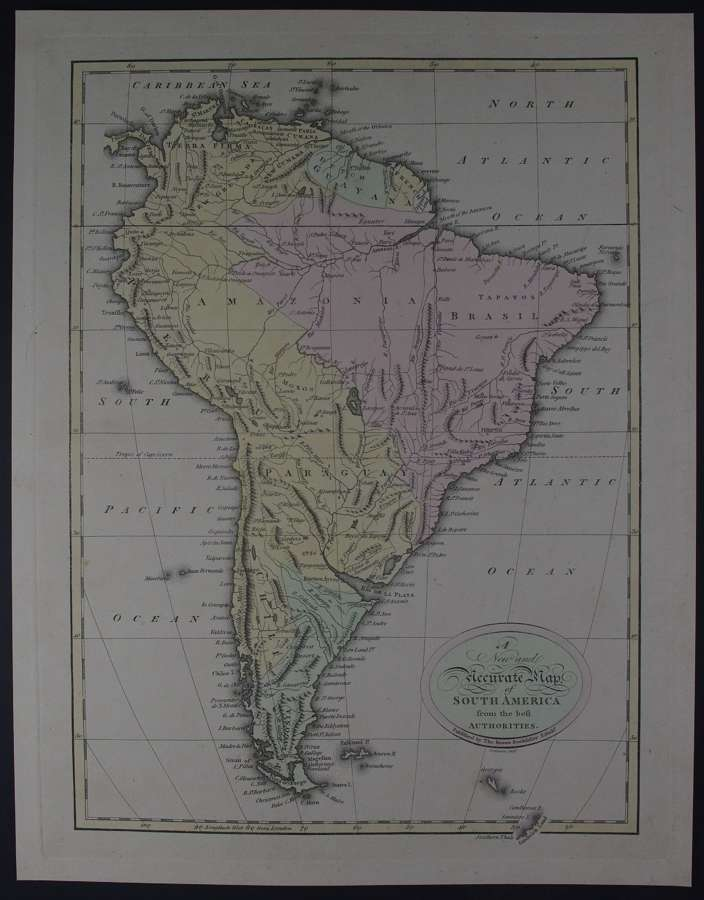 A New and Accurate Map of South America by Thomas Brown