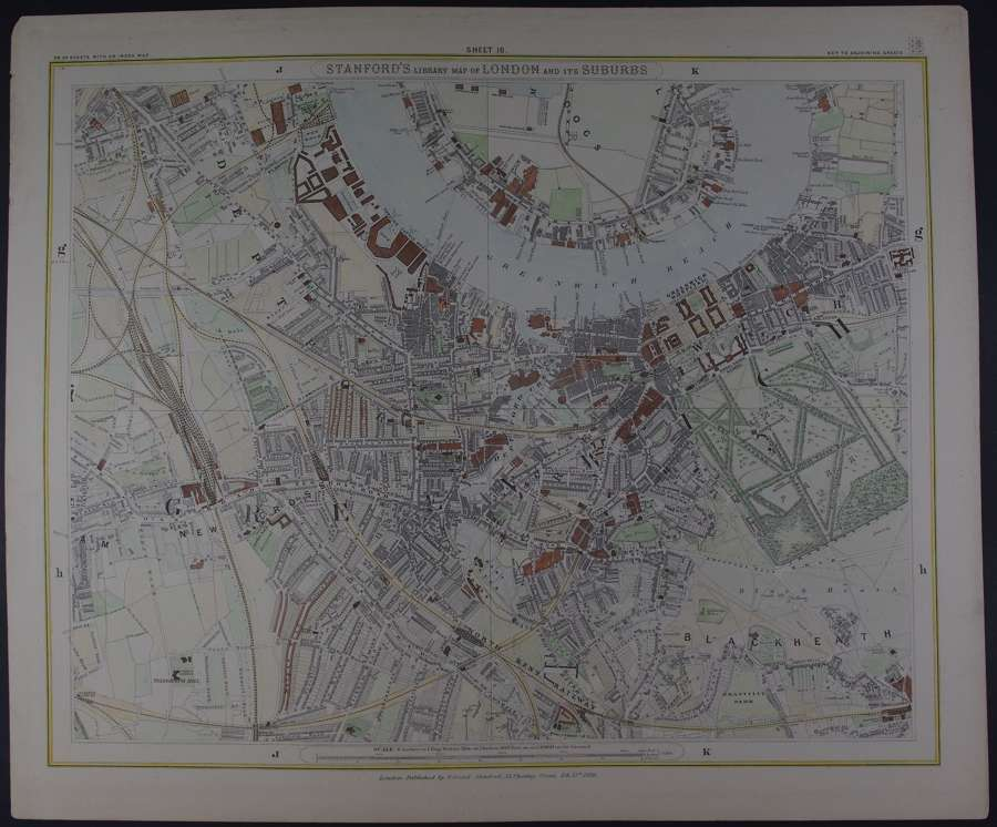 London : Sheet 16 (Deptford, Blackheath, Greenwich) by Edward Stanford