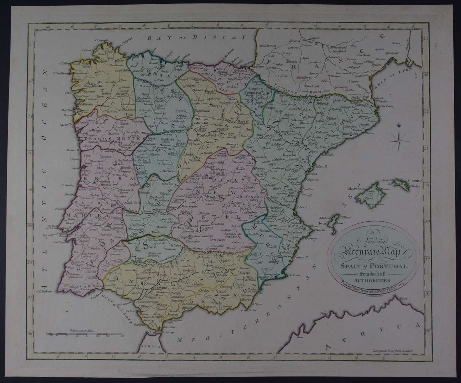 A New and Accurate Map of Spain & Portugal by Thomas Brown