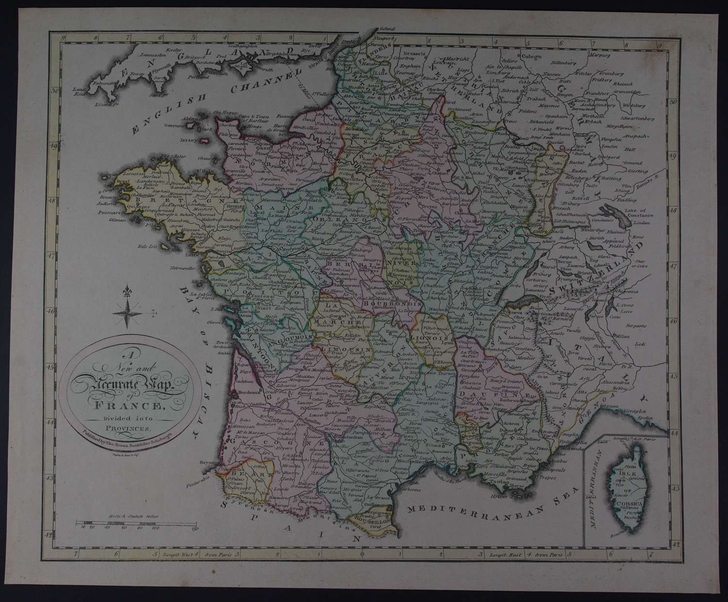 A New and Accurate Map of France by Thomas Brown