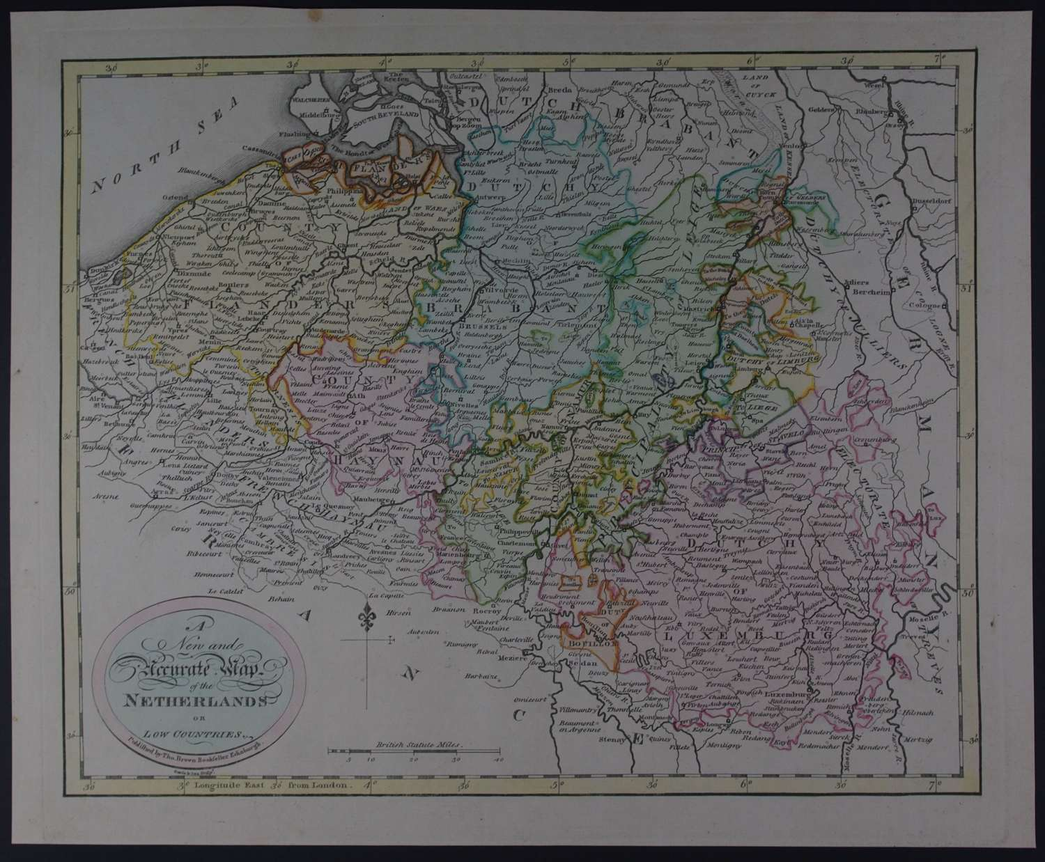 A New and Accurate Map of the Netherlands or Low Countries by Thomas B