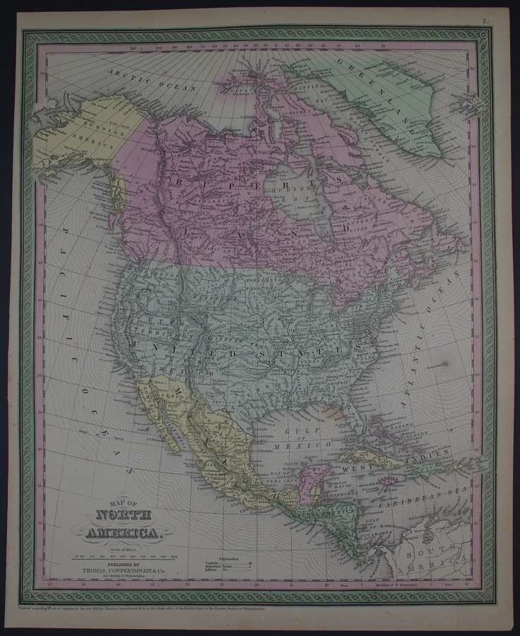 Map of North America by Thomas, Cowperthwait & Co