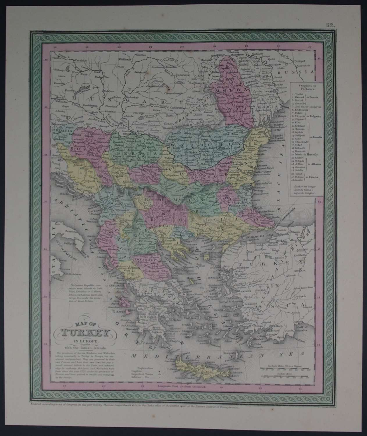 Map of Turkey in Europe by Thomas Cowperthwait & Co