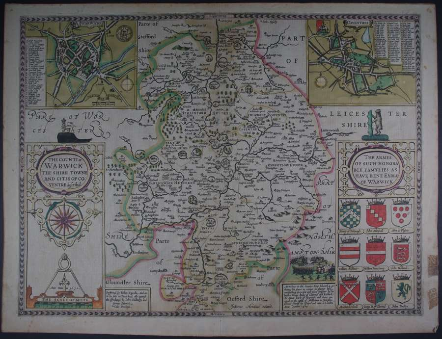 The Counti of Warwick (Warwickshire)  by John Speed