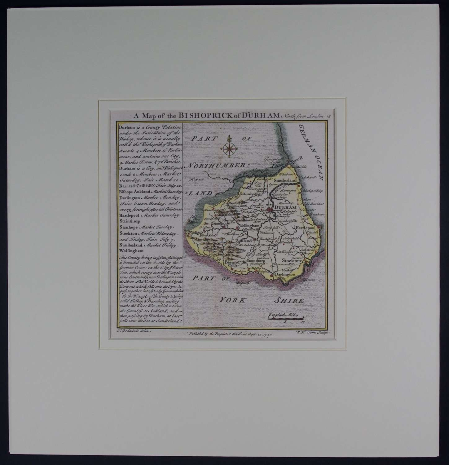 A Map of the Bishoprick of Durham by Thomas Badeslade
