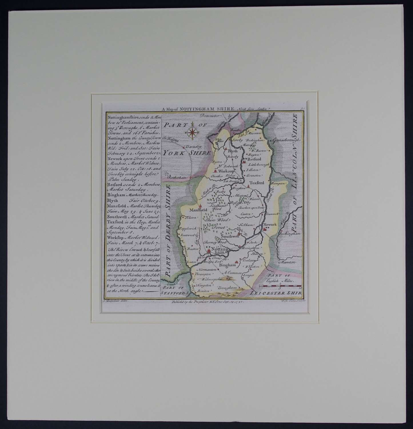 A Map of  Nottinghamshire by Thomas Badeslade
