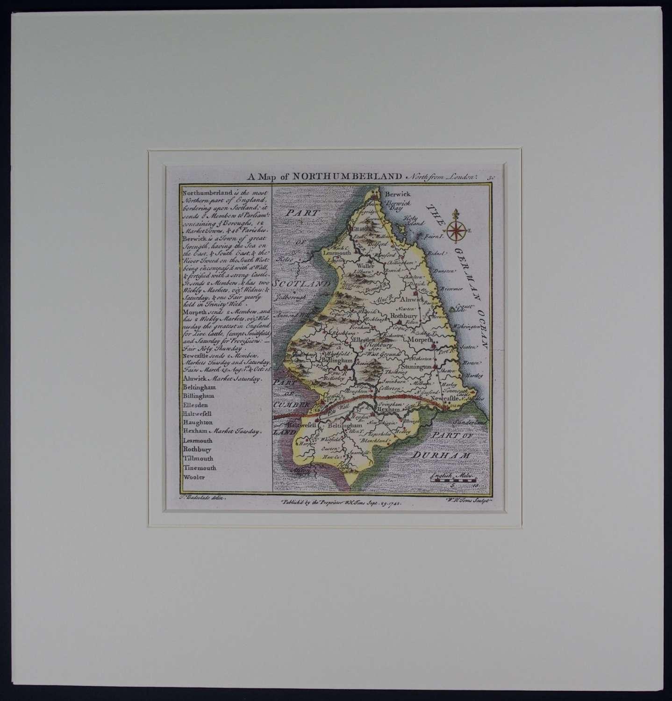 A Map of   Northumberland by Thomas badeslade