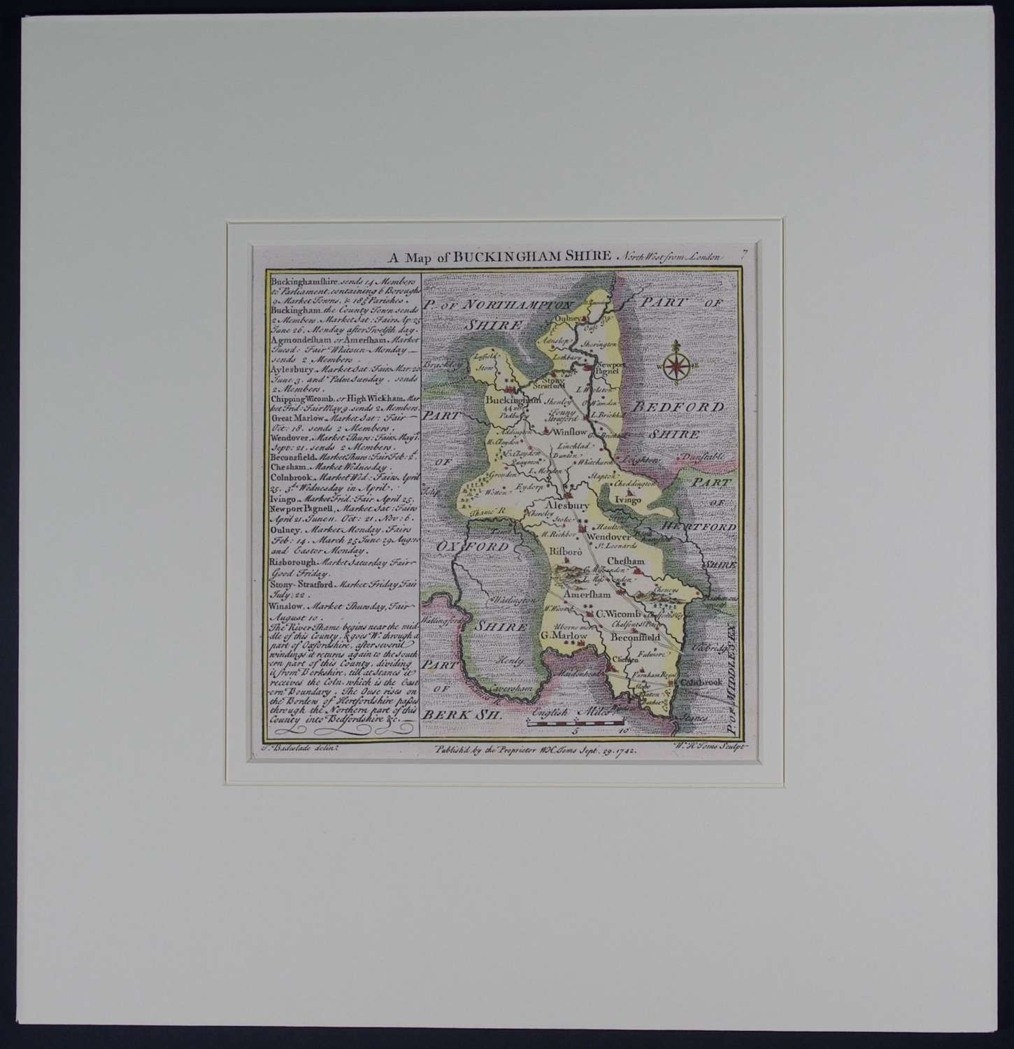 A Map of Buckinghamshire by Thomas Badeslade