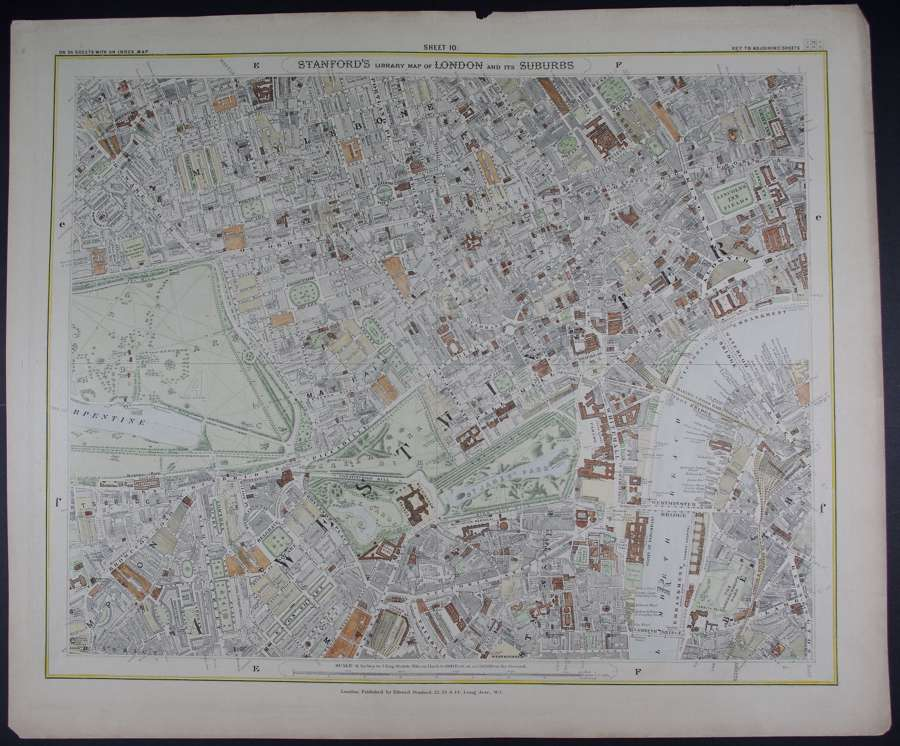 London : Sheet 10 (Marleybone, Westminster) by Edward Stanford