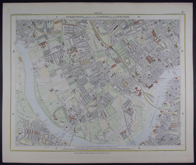London : Sheet 13 (Fulham, Battersea...) by Edward Stanford