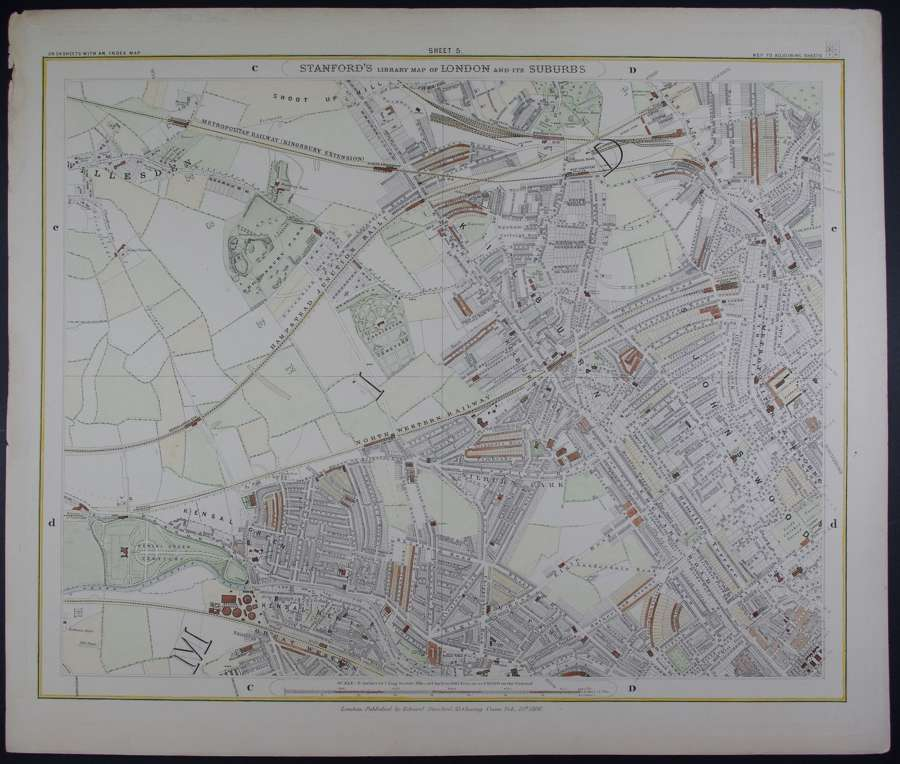 London : Sheet 5 (St.John's Wood..) by Edward Stanford
