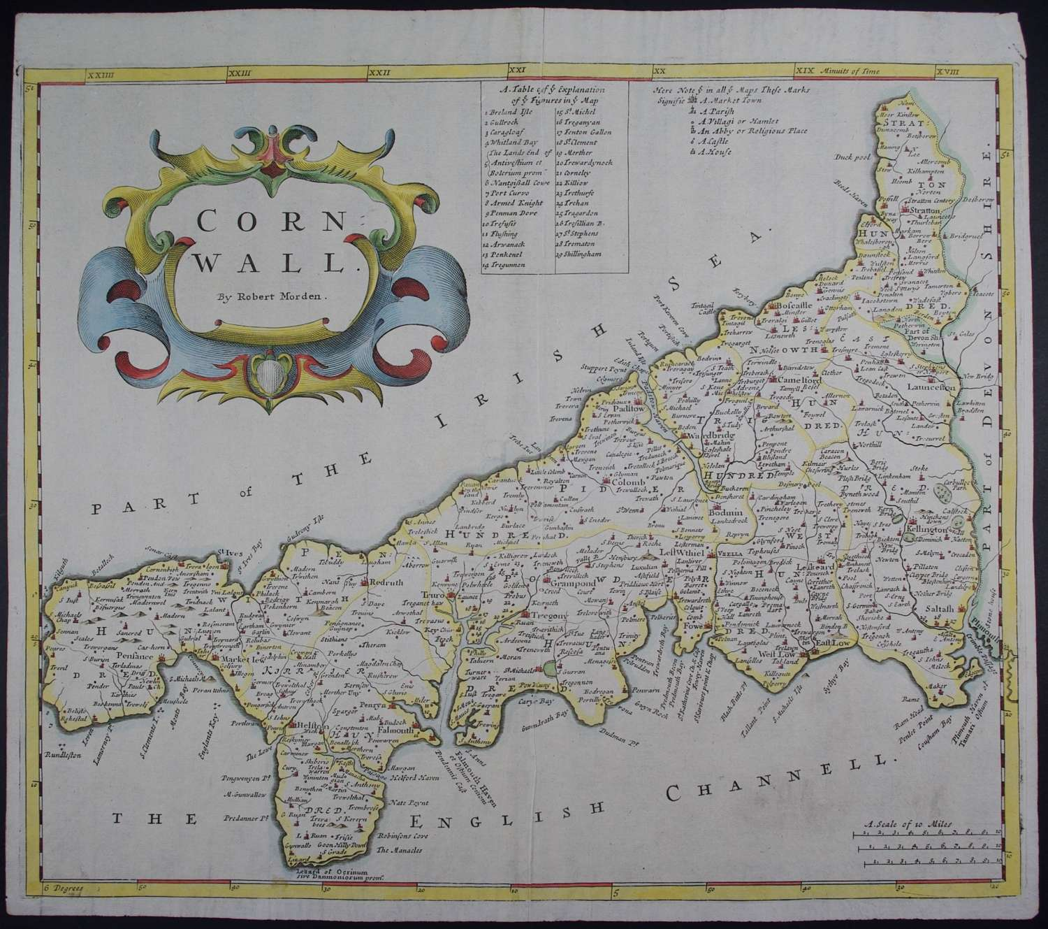 Cornwall. 1st edition 1695 by Robert Morden