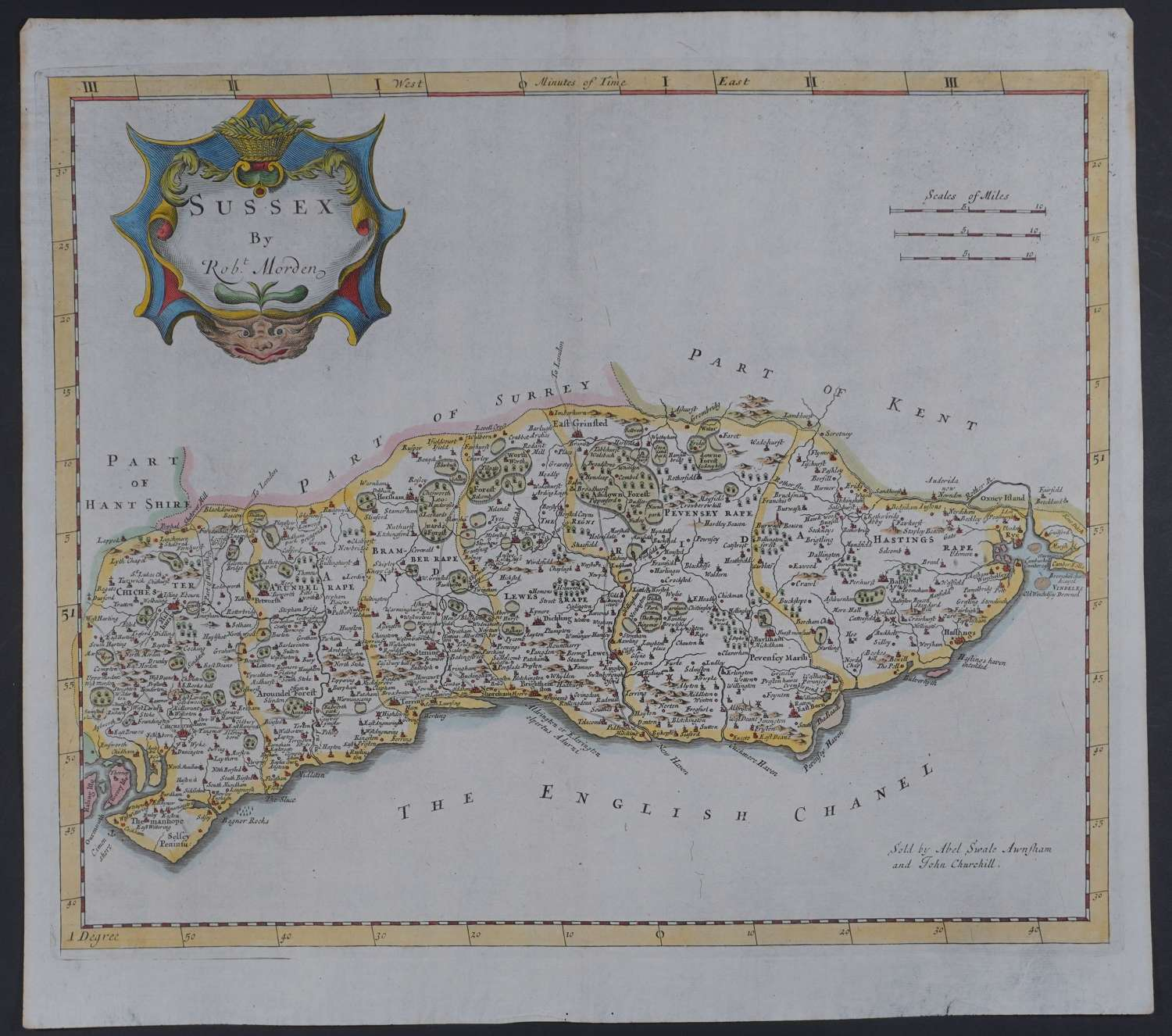 Sussex.1st edition 1695 by Robert Morden
