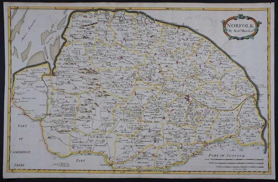 Norfolk. Ist edition 1695 by Robert Morden