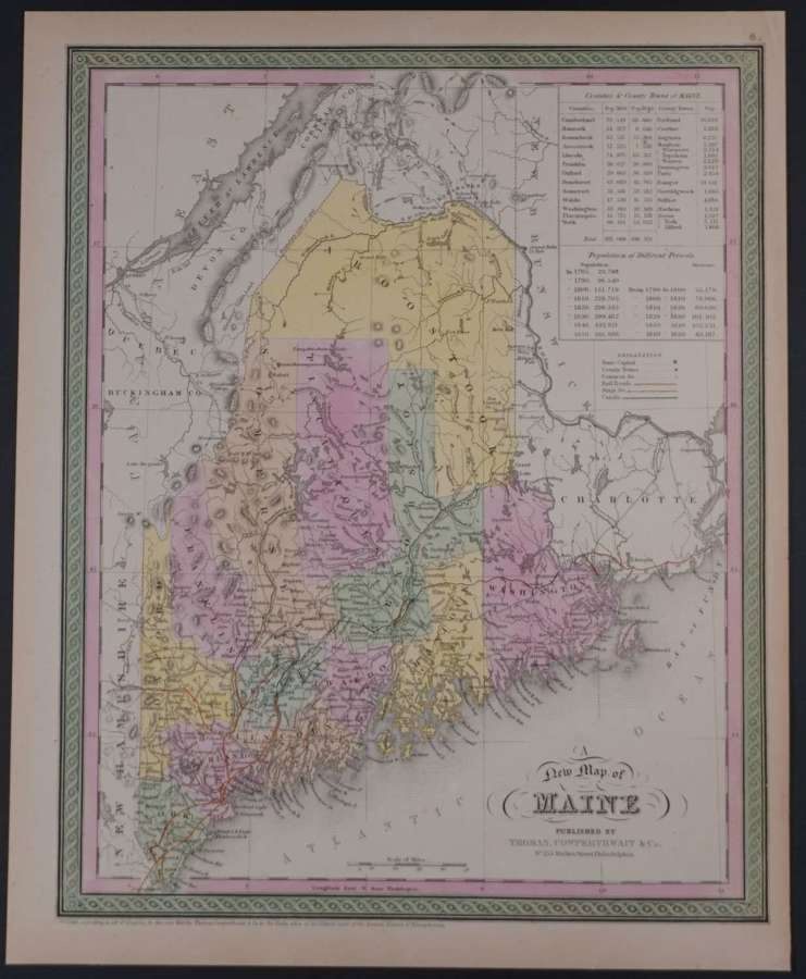A New Map of Maine by Thomas Cowperthwait & Co