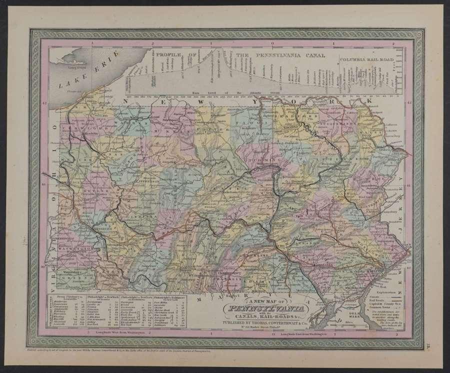 A New Map of Pennsylvania by Thomas Cowperthwait